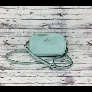 COACH-Mint Green Leather Crossbody/Clutch Handbag